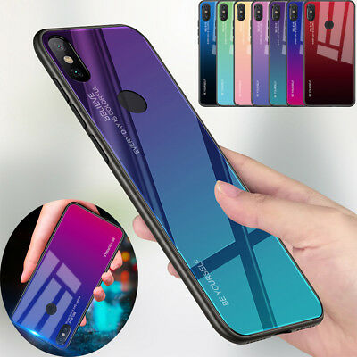 Gradient Tempered Glass Back Case Cover For Xiaomi 8 lite A1 A2 F1 Mix 2s Max 3