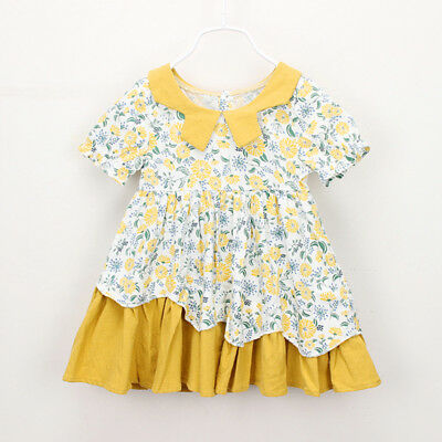 Toddler Kids Baby Girls Clothes Short Sleeve Floral Print Party Princess Dresse