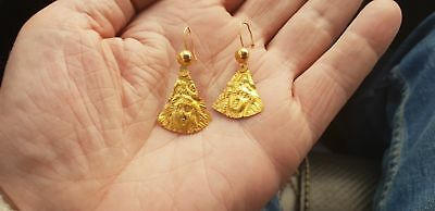 Roman High purity Gold Earrings with Faces of Aphrodite 2nd century AD