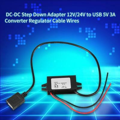 DC-DC Converter Cable 12V/24V to USB 5V 3A Non-isolated Step Down Power Module
