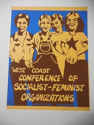 West Coast Conference Of Socialist Feminist Poster - Oakland Calif 1975 Protest