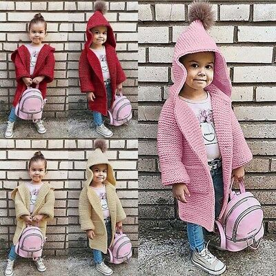 Kids Baby Girls Daily Solid Hooded Knitted Sweater Cardigan Coat Clothes II