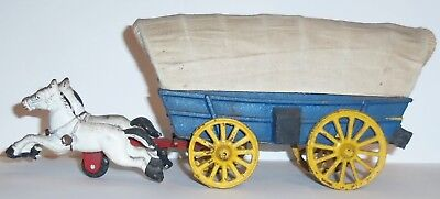 Vintage Cast Iron Horse Drawn Covered Wagon Toy - Western Antique