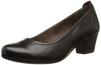 4599f3ed Tamaris 22306 Black Leather Low Heel Airline Staff Work Office Court Shoes