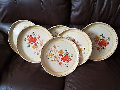 Set of 6 RARE Yellow Retro Floral Vintage metal Serving Trays round/1970-1980