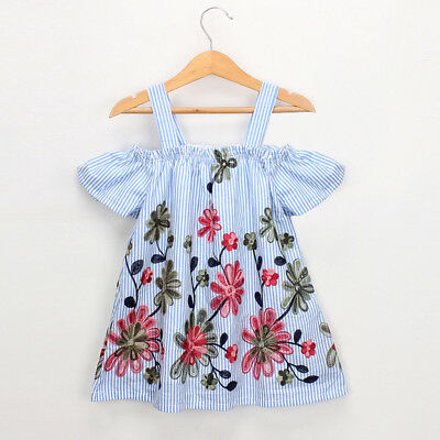 Toddler Kids Baby Girls Clothes Floral Embroidery Stripe Party Princess Dresses