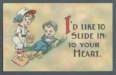 "Postcard Barton & Spooner Two Children Playing Baseball ""Slide into your Heart"""