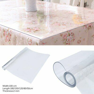 225 & CLEAR PLASTIC TABLE Cloth Cover PVC Waterproof Table Protector Tablecloth 2mm UK