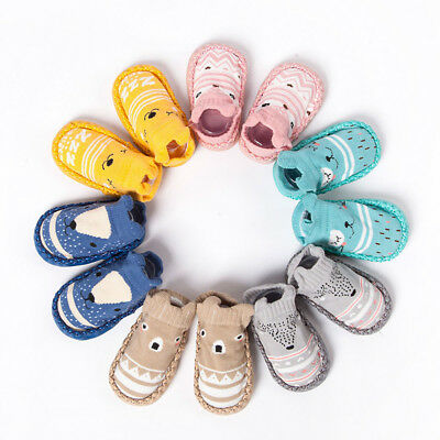 Cartoon Newborn Baby Girls Boys Anti-Slip Socks Slipper Bell Home Shoes Boots CH