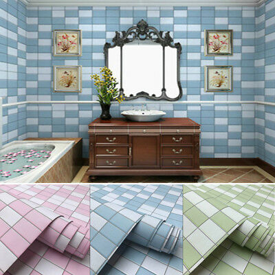 1M Tiles Stickers PVC Waterproof Self Adhesive Wallpaper Kitchen Bathroom Home