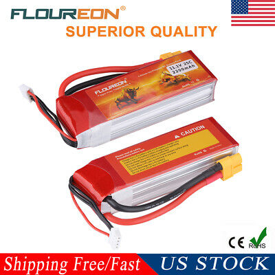 2x 11.1V 2200mAh 3S1P 25C XT60 Plug LiPo Battery Pack RC Car Truck Airplane Toy