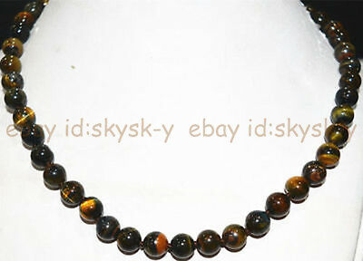 """Natural 8mm / 10mm Blue Yellow Tigers Eye Round Gems Beads Necklaces 18"""" AA"""