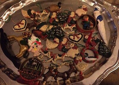 Mixed Lot 32 Christmas Holiday Ornaments Composite Resin Ceramic