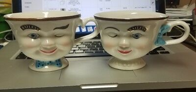 Bailey's Irish Cream Ceramic Yum Winking Face Tea Cups Lot Of 2 Boy& Girl #13