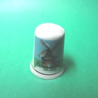 Vintage Exquisite Windmill Scene Bone China Thimble Holland Souvenir (T76)
