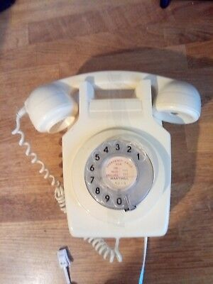 Rare vintage cream wall mounted Rotary telephone