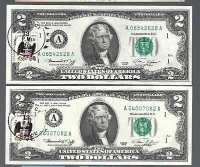 1976 $2 x 2 pcs Two Dollar Bill, First Day of Issue Unc w/stamp Avon, CT