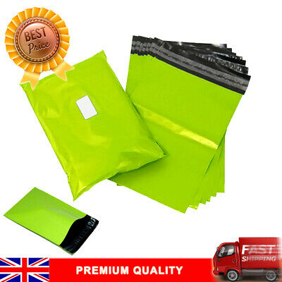 250 NEON GREEN 6x9 Premium Strong Mailing Postal Poly Pack Postage Bags UK