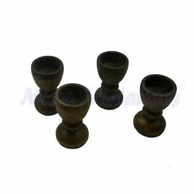 Dolls House Pack of 4 Dark Oak Wine Goblets 1/12th Scale (02881)