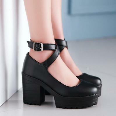 Women Round Toe Platform High Chunky Heel PU Leather Cross Ankle Strap Shoes MG