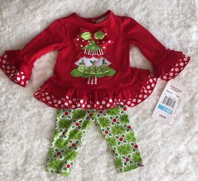 16cdf9e9a79f HOLIDAY Rare Editions Girl 3-6 Mo Outfit Christmas Tree Ruffles Red Green  White