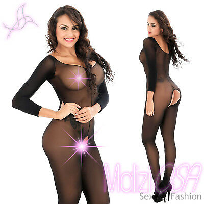 Catsuit Bodystocking Tuta VELATA NERA Body Stocking Tutina Nylon Sexy Lingerie