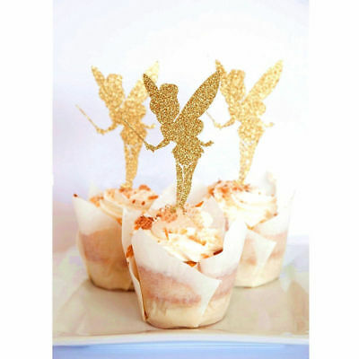 20pcs Party Cupcake Picks Glitter Angel Fairy Paper Birthday Shower Cake Toppers
