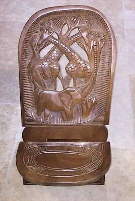 African Hand Carved Low Tribal / Birthing Chair From Rwanda Elephant Giraffe