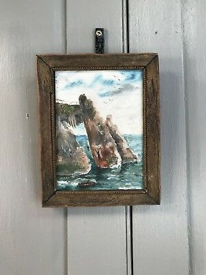 Vintage small seascape painting in oil of Cornish coastal scene