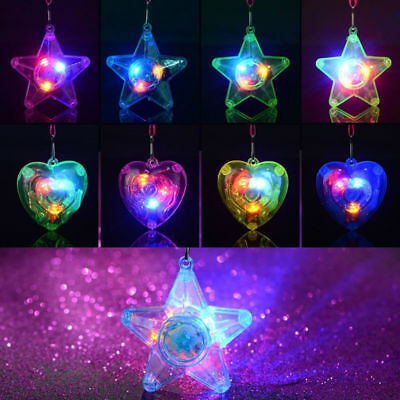 8x Star Heart LED Light Up Flashing Necklace Pendants Birthday Party Decor Gift