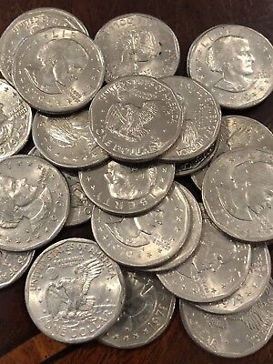Susan B. Anthony Dollar - Roll Of 25 Nice Circulated Coins In Plastic Tube