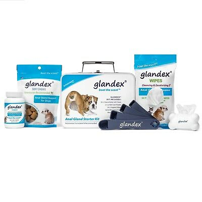 Glandex Anal Gland Support Starter Kit with Soft Chews, Powder and Wipes