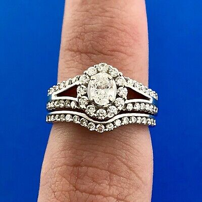 Stunning 14K White Gold Oval Diamond Halo Two Piece Engagement Bridal Set