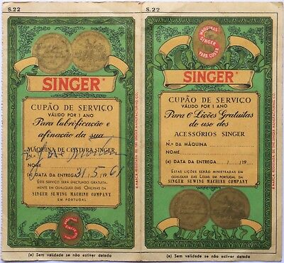 2 Portuguese Service Coupon SINGER SEWING MACHINE Co.1961 - 6 Free Lessons