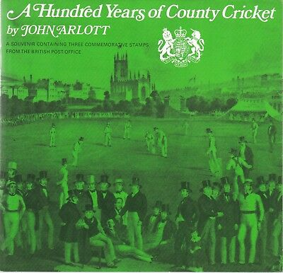 GB 1973 A Hundred Years of County Cricket by John Arlott Souvenir Pack VGC