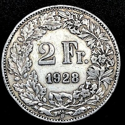 Switzerland ~ 2 Francs ~1928 B~ Bern~ circulated Silver Coin.~ KM#21.