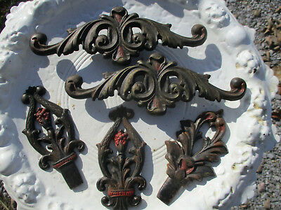 Gorgeous Antique Cast Iron Drape Rod Finials & Embellishments Victorian Lot Of 5