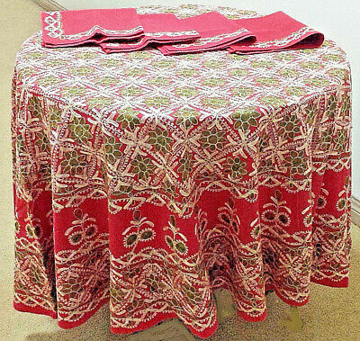 """1980s Syrian AGHABANI 73.5"""" D Round TABLECLOTH Red w/Gold/Green EMBROIDERIES EUC"""