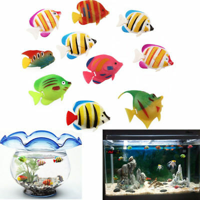 10x Plastic Artificial Moving Floating Fishes Aquarium Fish Tank Ornament Decor