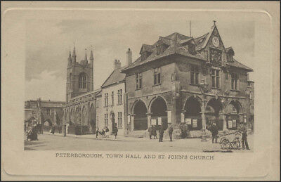 Ansichtskarte Peterborough/England:Town Hall and St. Johns-Church, ungebraucht