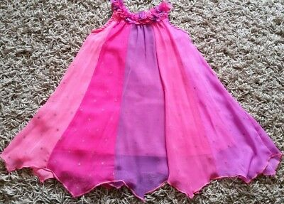 Baby Girls Monsoon Floaty Chiffon Pink Occasion Party Dress 12-18 Months 1-1.5
