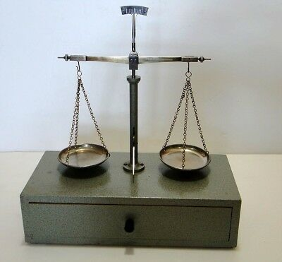Vintage German Apothecary-Gold-Chemistry Scale With Weights