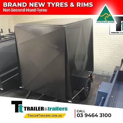 7x4 SINGLE AXLE 5FT HIGH FULLY ENCLOSED VAN/CARGO TRAILER + NEW WHEELS AND TYRES