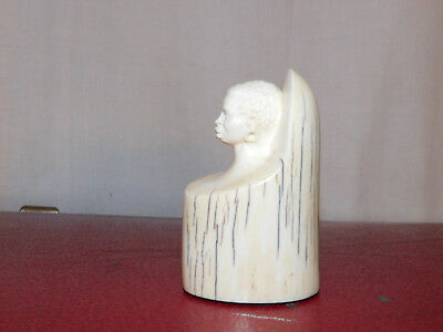 Vintage Bovine Bone Carved Head Bust  African