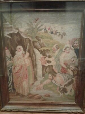 1862 Petit Point Needlepoint W/ Silk Details Moses Striking The Rock