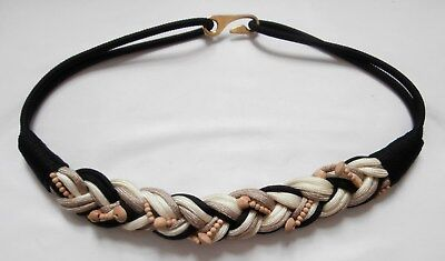 "Vintage 1980s Black Beige & Cream Cording Elasticated Belt w/ Wood Beads 32""-33"""