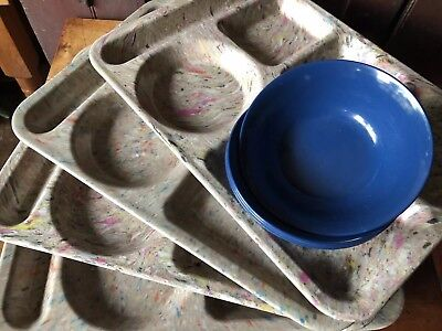 Texas Ware signed Speckled Confetti School Lunch Trays & Bowls 4 OF EACH Sets