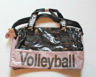 Justice Girl's Pink & Black Flip Sequin Volleyball Duffle Sport Bag Tote Duffel