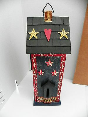 Wooden Butterfly House - Hearts and Stars by Deb Strain