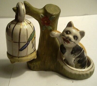 Novelty Cat Swatting At Bird In Cage On Tree Salt & Pepper Shakers Japan